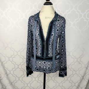 Marc Jacobs Embroidered Sheer Blue Silver Top
